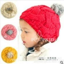 新款韩版儿童兔毛帽宝宝麻花针织帽女童单帽时尚帽子批发批发