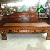 供应实木雕花描金彩绘长椅、藤竹席面罗汉床、明清古典家具YMT0653