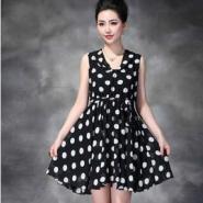 欧美时尚新款雪纺黑白波点连衣裙图片