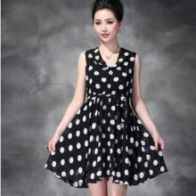 供应欧美时尚新款雪纺黑白波点连衣裙