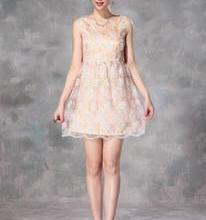 供应夏装新款重工玻璃纱刺绣连衣裙