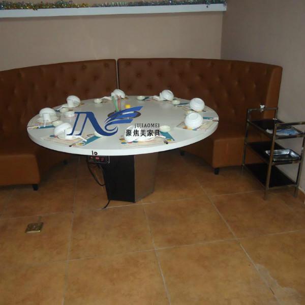 电磁炉火锅桌 大理石火锅餐桌 人造石10人位 电磁炉火锅台桌