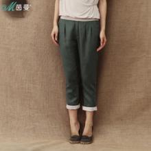 茵曼 2013夏装新款亚麻中腰休闲裤直筒裤九分裤女裤子