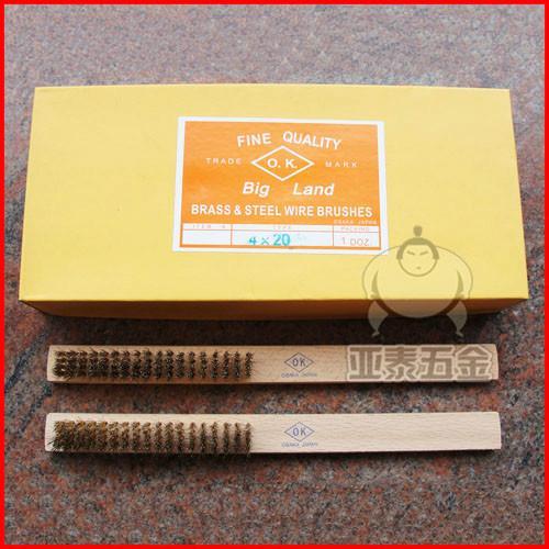 日本OK进口铜丝刷/黄铜丝刷/木柄铜丝刷/工具刷子/工业铜丝刷