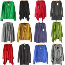 厂家直销外贸品牌杂款库存女装蝙蝠袖圆领针织毛衣 开衫女装 蝙蝠袖圆领