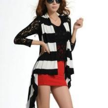 广州姐妹淘服饰网供应2013秋装新款女装时尚条纹流苏设计开衫针织衫
