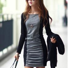 供应褶皱修身包臀连衣裙 时尚撞色拼接 褶皱修身包臀连衣裙