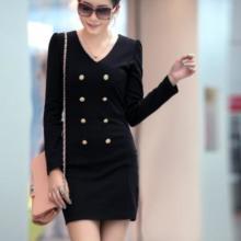 广州姐妹淘长期供应2013秋季新款女装时尚双排扣OL包臀修身连衣裙