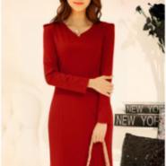 显瘦V领连衣裙图片