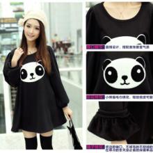 供应泡泡袖T恤 熊猫图案 宽松大码加厚加绒泡泡袖T恤
