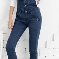 磨破背带修身显瘦牛仔裤