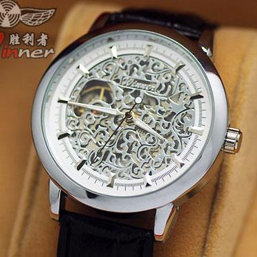 秒杀型男表 镂空雕花金色钢带自动机械表手表 学生潮男士腕表005