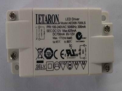 供应UL/TUV/SAA认证恒流LED电源8W700mA