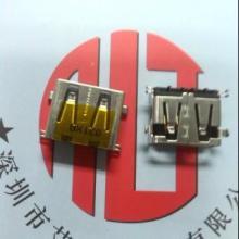 供应短体沉板USB母座 短体10.0沉板USB 四脚DIP+针SMT