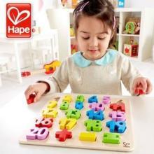 供应hape数字教育木制数字立体拼图多彩拼板新品益智早教智力