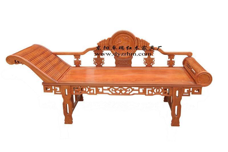 供应东阳红木古典家具非洲花梨木贵妃床图片
