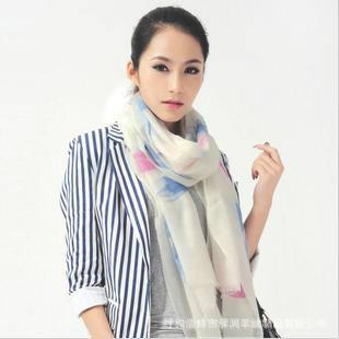 供应手绘印花羊绒围巾北京围巾批发
