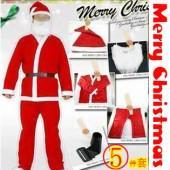 901圣诞装5件套装圣诞老人衣服道具狂欢节衣服装成人男士批发