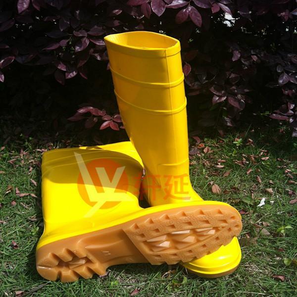 促销黄雨鞋 轩延黄胶靴高腰雨鞋 黄色防水雨鞋