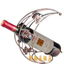 供应欧式创意铁艺葡萄酒酒架月亮款壁批发