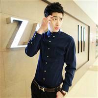 供应爱创赢新款韩版男装纯色衬衫修身长袖衬衫批发