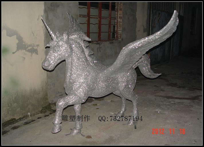 供应飞马雕塑独角兽雕塑玻璃钢动物雕塑马模型订做马雕塑制作