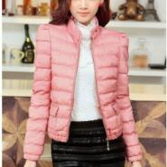 韩版时尚修身立领泡泡袖棉衣图片