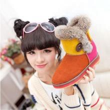 供应2013冬季新款真皮兔毛短靴子防水雪地靴糖果色低筒牛皮女棉鞋