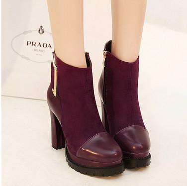 供应正品女鞋拼接粗跟女靴 欧美优雅大牌防水台高跟短靴超高跟短棉靴