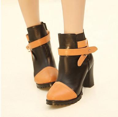 供应欧美朋克短靴马丁靴秋冬高跟粗跟及踝靴单靴裸靴女靴子靴冬女鞋