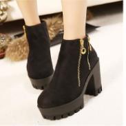 厚底女靴金属拉链粗高跟短靴女鞋图片