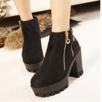 厚底女靴金属拉链粗高跟短靴女鞋