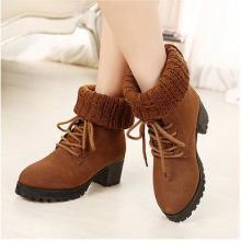 供应冬季欧美风两穿女靴子粗跟中高跟中筒靴保暖毛线拼接短靴雪地靴女