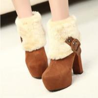 高跟毛绒女靴保暖加厚冬靴棉靴