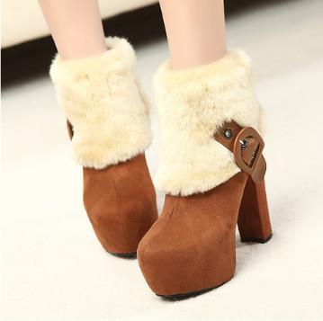 供应2013秋冬季新品女装短靴粗跟高跟毛绒女靴保暖加厚冬靴棉靴雪地靴