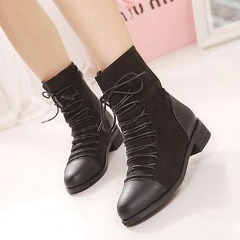 2013欧美秋冬新款系带粗跟短靴圆头平跟女单靴学生马丁靴大码女鞋