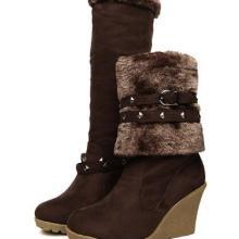 供应秋冬新品一鞋三穿铆钉靴磨砂皮女靴坡跟靴翻毛防水台高筒雪地靴女