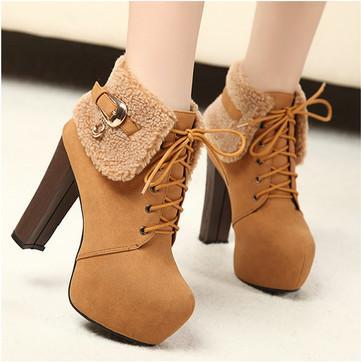 供应2013冬季新款女靴 性感超高跟粗跟马丁靴加厚毛毛短靴搭扣雪地靴
