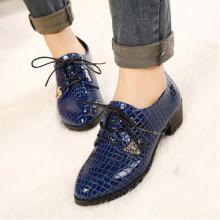 供应中跟粗跟英伦风尖头女鞋 2013秋季新款蛇纹休闲系带深口粗跟单鞋