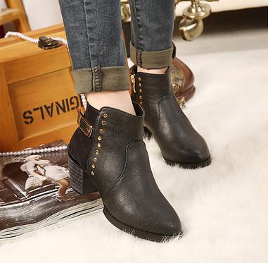 供应冬款高跟加绒短靴皮带扣马丁靴粗跟裸靴圆头短靴机车靴侧拉链女靴