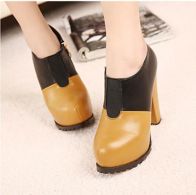 供应2013欧美秋冬拼色女靴内防水台粗高跟鞋优雅短靴及裸靴马丁靴女靴