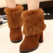 毛绒女短靴磨砂皮女靴子雪地鞋图片