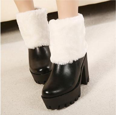 供应欧美2013秋冬季女靴厚底粗跟及裸靴兔毛靴防水台高跟女短靴雪地靴