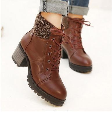 供应2013韩国秋冬短靴 圆头厚底系带高跟靴女靴粗跟毛毛雪地靴机车靴