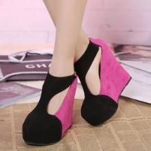 供应冲钻特价韩版VIVI推荐款女鞋 学院风坡跟拼色T字带拉链坡跟鞋单