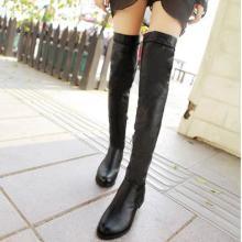 供应2013冬季新款女靴长筒靴pu/绒面粗跟平底靴侧拉链过膝长靴 有