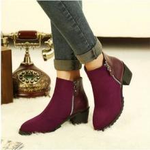 供应自留推荐!2013秋冬新款女靴 侧拉链及踝靴 中跟短靴 粗跟单靴