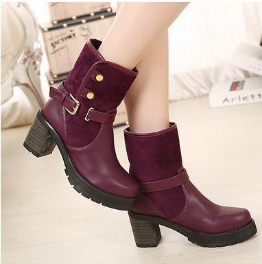 冬季新款厚底粗跟短靴 翻毛马丁靴欧美学院风女靴英伦高跟及踝靴