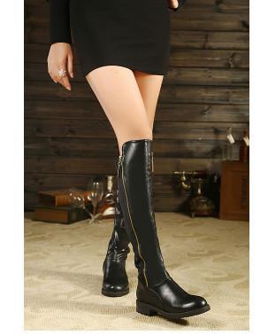 供应欧美2013秋冬女靴圆头高筒靴中跟方根长靴英伦马丁靴骑士机车女靴