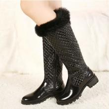 供应 2013欧美新款女高筒靴 小香风车菱格长靴平跟兔毛雪地靴漆皮女